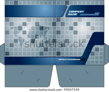 Corporate folder with die cut. - stock vector