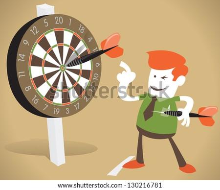 Corporate Guy Hits a Bulls-eye. - stock vector