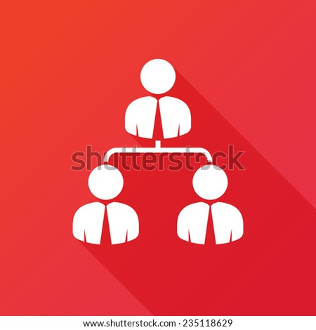 Corporate hierarchy, business network. Modern flat icon with long shadow effect - stock vector