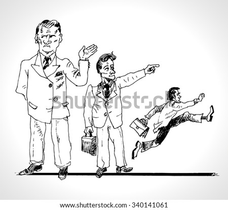 Corporate hierarchy. Business organization. Three types of the manager. Chief, manager, performer of orders. Vector sketch cartoon. In ancient engraving style. Drawn by hand