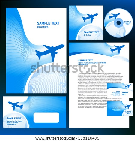 corporate identity airplane flight tickets air fly cloud sky blue white color travel transportation globe background - stock vector
