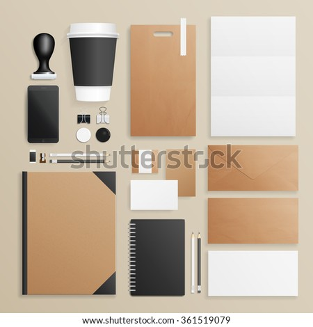 Corporate identity and branding mock up. Vector illustration. Business set of envelope, notebook, card, folder, paper bag, menu, paper cup, etc. Vector illustration. - stock vector