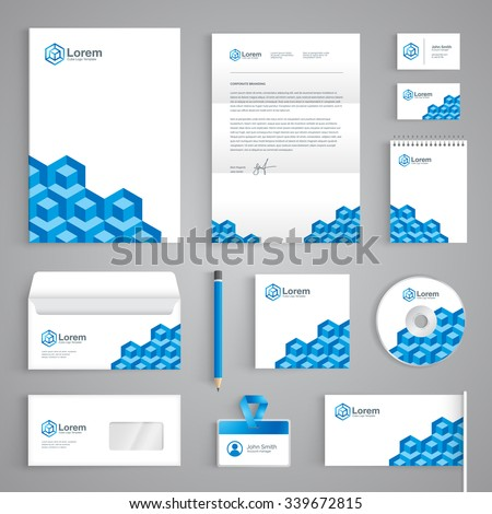 Corporate identity branding template. Abstact vector stationery design with construction logo icon on white background. Business documentation - stock vector