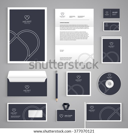 Corporate identity branding template. Abstract vector stationery design with heart illustration symbol on dark background. Business documentation