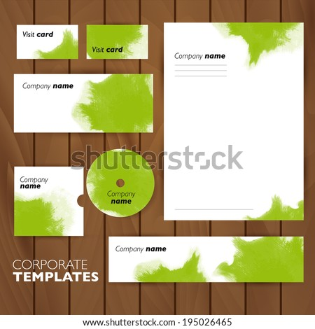 Corporate identity business set design. Abstract background. Vector illustration. Watercolor.