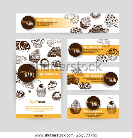 Corporate identity business set design with sweets and cakes. Abstract background. Vector illustration.Hand drawn illustration. Sketch. - stock vector