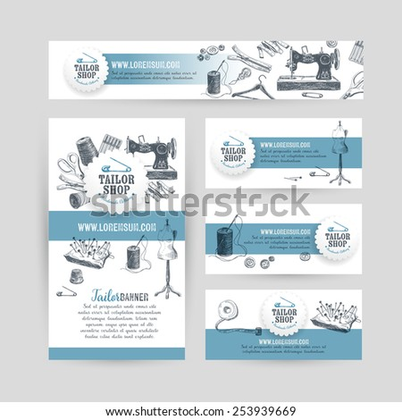 Corporate identity business set design with tailor and sewing tools.  Vintage background. Vector illustration.Hand drawn retro illustration. Sketch. - stock vector