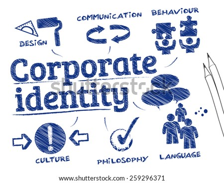 Corporate identity. Chart with keywords and icons - stock vector