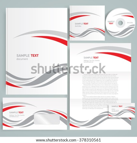 Corporate identity design template curves - stock vector