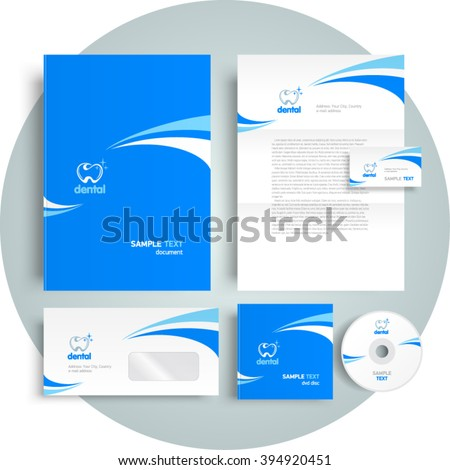 Corporate identity design template dental tooth