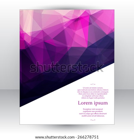Corporate identity design template with abstract geometric background with romantic pink, purple and violet transparent triangles. Fully editable, you can transform and place the pattern as you like. - stock vector
