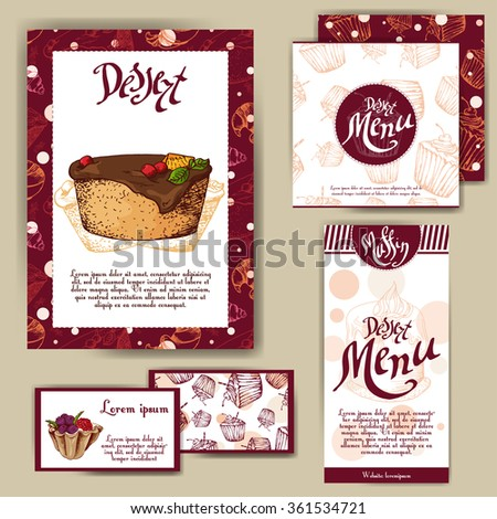 Corporate identity for cafe or restaurant. Sweet style with hand drawn desserts. Concept for bakery. - stock vector