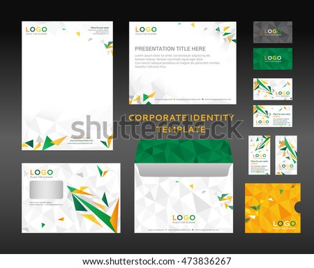 corporate identity kit lowpoly style letter stock vector (royalty, Low Poly Business Presentation Template, Presentation templates