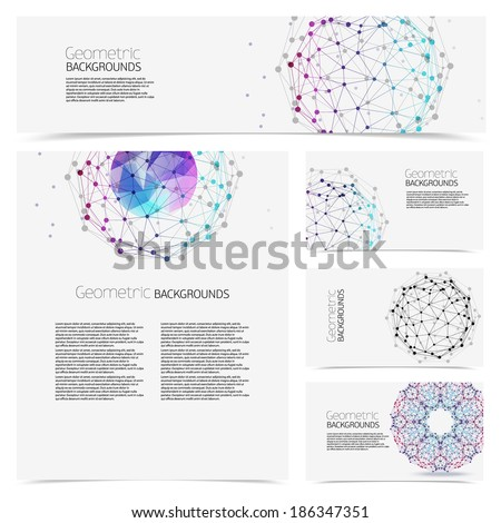Corporate identity kit or business kit with artistic, Abstract backgrounds of geometric shapes. - stock vector