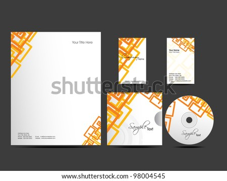 Corporate Identity kit or business kit with artistic, abstract design in orange color for your business includes CD Cover, Business Card and Letter Head Designs in  EPS 10 format. - stock vector