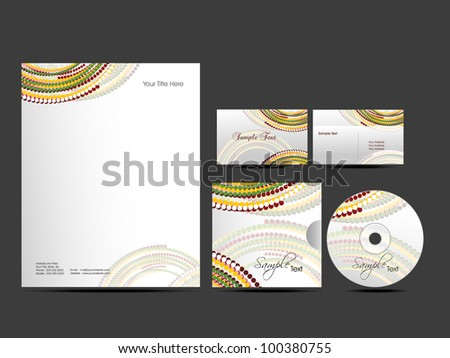 Corporate Identity kit or business kit with artistic, colorful creative abstract design for your business includes CD Cover, Business Card and Letter Head Designs in EPS 10 format.
