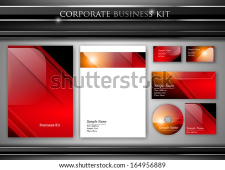 Corporate identity kit or professional business. Includes CD Cover, Business Card, Envelope and Letter Head Designs. Vector - stock vector