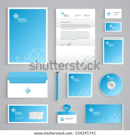 Corporate identity medical branding template abstract stock vector corporate identity medical branding template abstract pharmacy vector stationery design on light blue background accmission Image collections