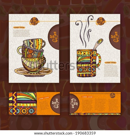 Corporate identity. Menu. Cup of coffee - stock vector