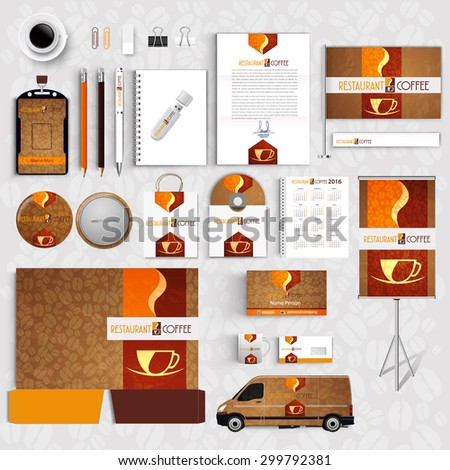 Corporate Identity Menu Restaurant Background coffee beans - stock vector