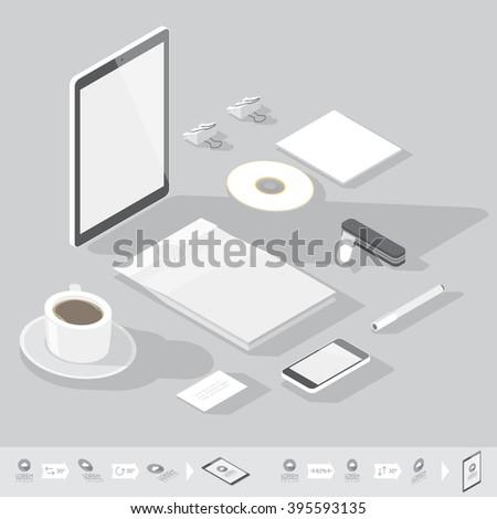 Corporate identity mock-up template. Flat isometric design. Vector illustration. - stock vector