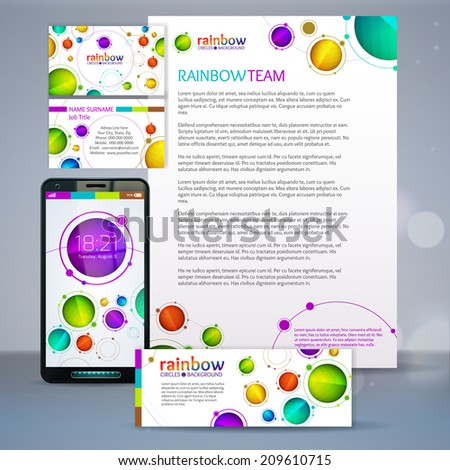 Corporate identity rainbow circles template. Vector company style. EPS 10