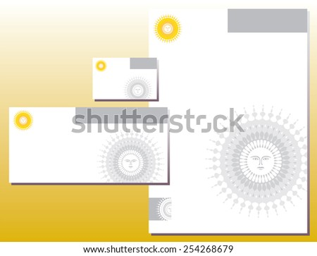 Corporate Identity Set - Letterhead - Business Card - Bright Sun - Yellow Colors - stock vector