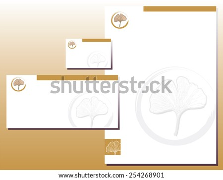 Corporate Identity Set - Letterhead - Business Card - Ginkgo Leaf - Yellow / Brown Colors - stock vector