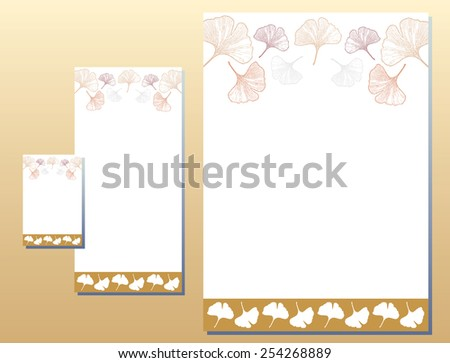 Corporate Identity Set - Letterhead - Business Card - Ginkgo Leaves - Yellow / Brown Colors - stock vector