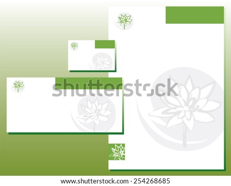 Corporate Identity Set - Letterhead - Business Card - Lotus Flower - Green Colors - stock vector