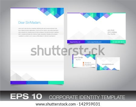 Corporate identity set or kit for your business including Business Card, Envelope and Letter templates. Vector format, editable, place for text - stock vector