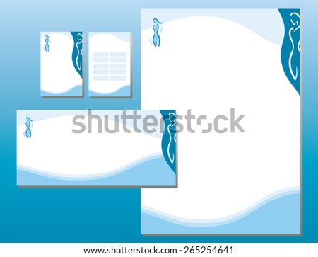 Corporate Identity Set - Woman Body Icon in Blue - stock vector