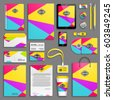 Corporate identity spring colors triangles template set. Business stationery mock-up with logo. Branding design. Colorful geometric background.