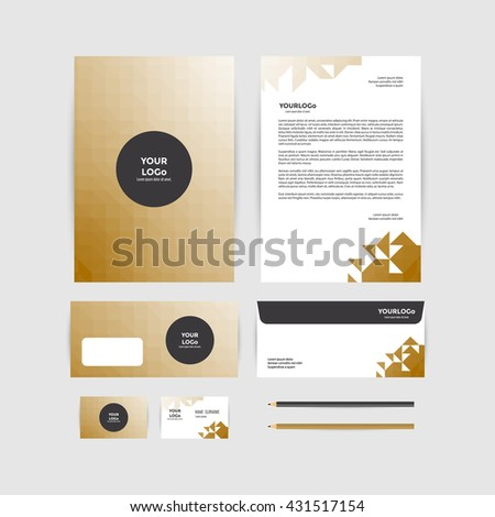 corporate identity template business stationery stock vector hd