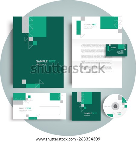 corporate identity template design engineering abstract triangles geometric set - stock vector