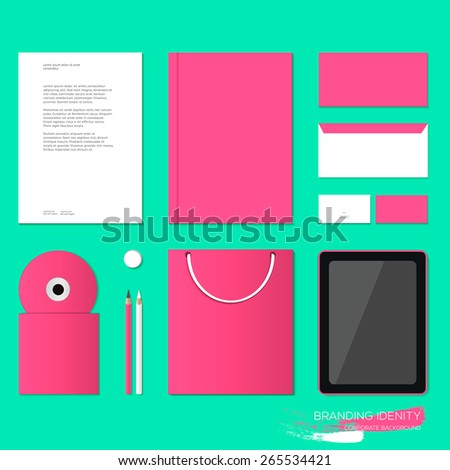 Corporate identity template design in clean pink color. Business stationery, mock-up. Forms, pencils, blank, eraser, disk, packages, card, laptop, display, device.
