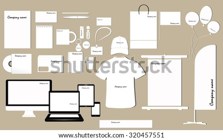 Corporate identity template design on the color background. Business stationery.