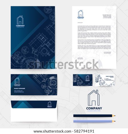 Corporate identity template design blueprint background stock photo corporate identity template design with blueprint background business realestate malvernweather Images