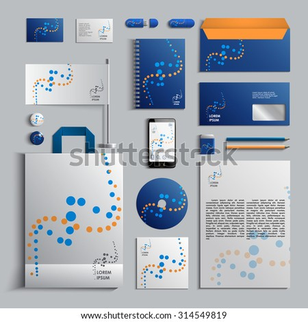 Corporate identity template in blue and yellow colors with pattern of circles. Vector company style for brandbook and guideline. EPS 10 - stock vector