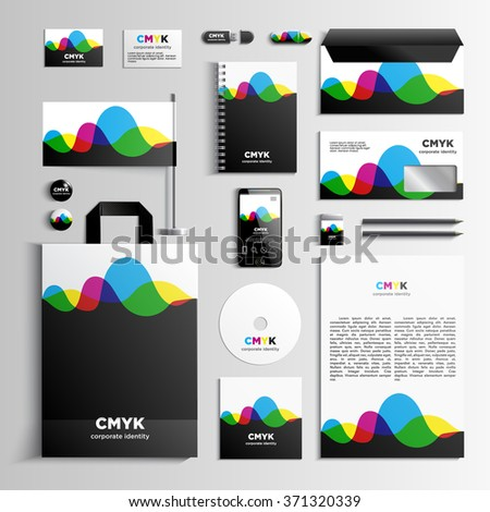 Corporate identity template in CMYK colors with pattern of the waves. Vector company style for brandbook and guideline. EPS 10 - stock vector