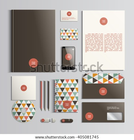Corporate identity template in red, brown and beige colors with triangular pattern. Vector company style for brandbook and guideline. EPS 10 - stock vector