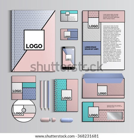 Corporate identity template intrendy colors with geometric patterns. Vector company style for brandbook and guideline. Pop art style. Creative Business stationery. Vector Illustration. EPS 10 - stock vector