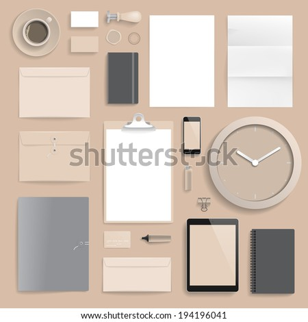 "Corporate identity template on brown background. Use layer ""Print"" in vector file to recolor objects. Eps-10 with transparency. - stock vector"