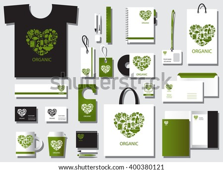 Corporate identity template set. Business stationery mock-up. Branding design.Corporate flat identity mock-up template for your design. Vector illustration. Organic food logo. Organic food heart shape