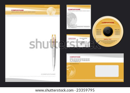 Corporate Identity Template Vector - blank, card, pen, cd, notepaper, envelope - stock vector