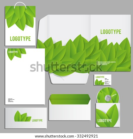 Corporate identity template. Vector company style for brandbook and guideline. ECO style  and green colors. - stock vector
