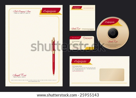 Corporate Identity Template Vector  with  elegant background - blank, card, pen, cd, note-paper, envelope - stock vector