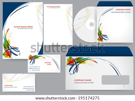 Corporate identity template with abstract colorful elements - stock vector