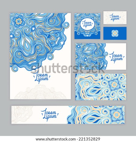 corporate identity template with beautiful round blue and orange pattern