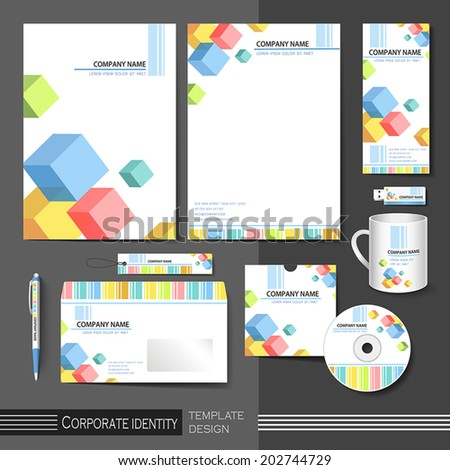 corporate identity template with color cube elements. abstract background vector illustration